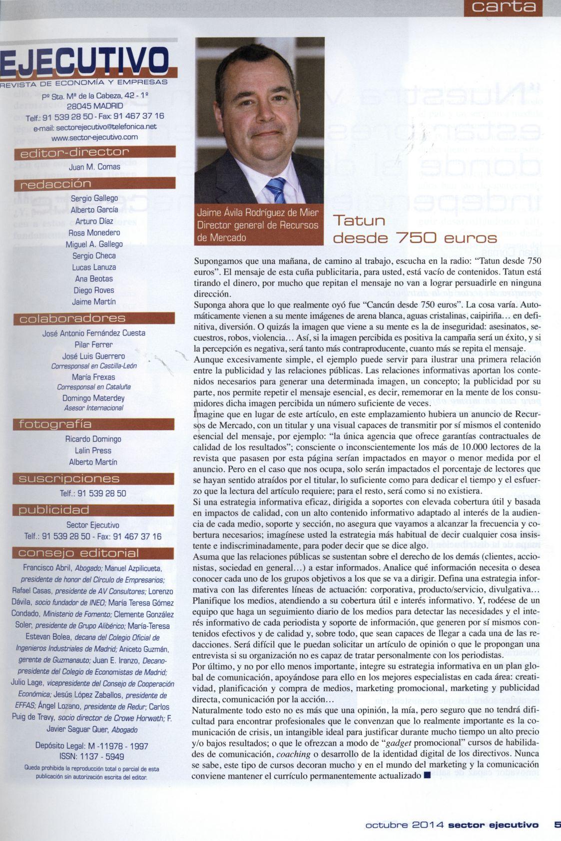 Sector Ejecutivo - octubre 2014